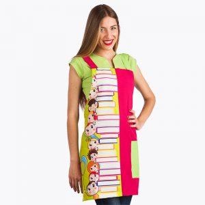 Casulla profesores personalizable estampado libros color rosa imagen lateral