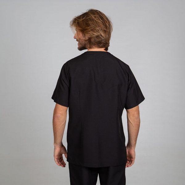 Chaqueta sanitaria hombre microfibra cierre central color negro espalda