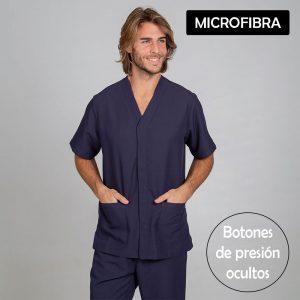 Chaqueta sanitaria hombre microfibra cierre central color marino cartel microfibra