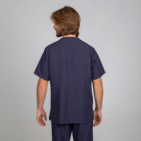 Chaqueta sanitaria hombre microfibra cierre central color marino espalda