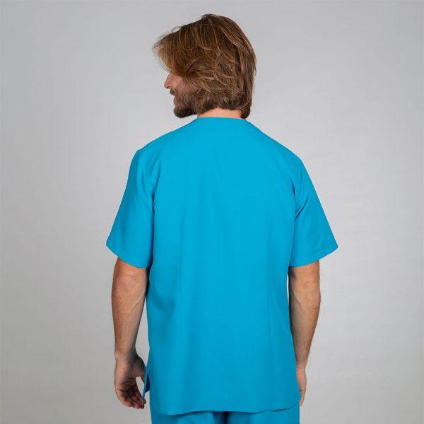 Chaqueta sanitaria hombre microfibra cierre central color turquesa espalda