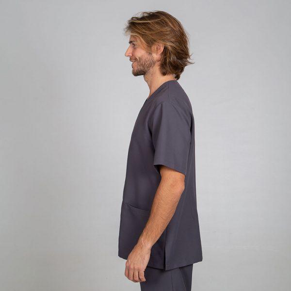 Chaqueta sanitaria hombre microfibra cierre central color gris lateral