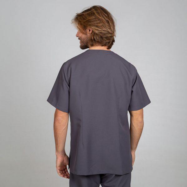 Chaqueta sanitaria hombre microfibra cierre central color gris espalda