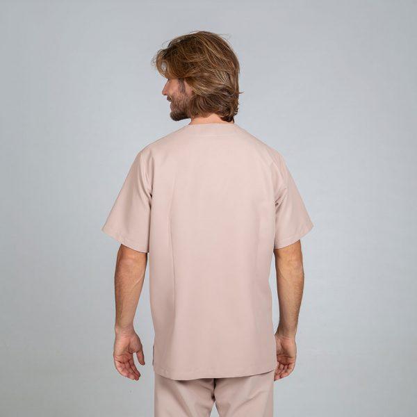 Chaqueta sanitaria hombre microfibra cierre central color arena espalda