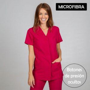 Chaqueta sanitaria mujer microfibra cierre central color frambuesa cartel microfibra