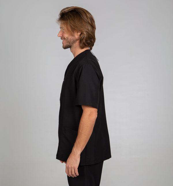 Chaqueta microfibra manga corta hombre botones plata color negro lateral