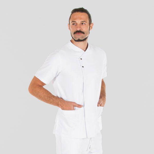 Chaqueta microfibra manga corta hombre botones plata color blanco