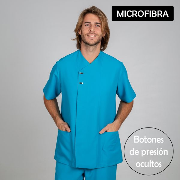 Chaqueta microfibra manga corta hombre botones plata color turquesa frontal