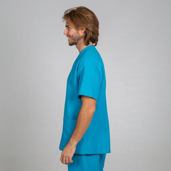 Chaqueta microfibra manga corta hombre botones plata color turquesa lateral
