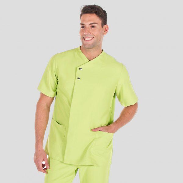 Chaqueta microfibra manga corta hombre botones plata color verde