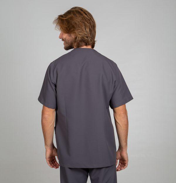 Chaqueta microfibra manga corta hombre botones plata color gris espalda