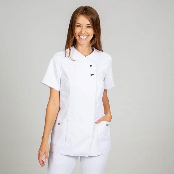 Chaqueta microfibra manga corta mujer botones plata color blanco frontal