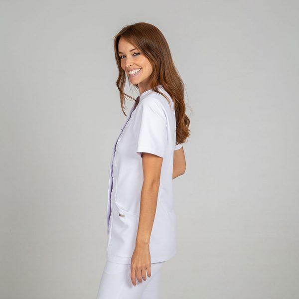 Chaqueta microfibra manga corta mujer botones plata color blanco lateral