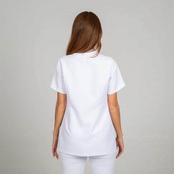 Chaqueta microfibra manga corta mujer botones plata color blanco espalda