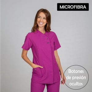 Chaqueta microfibra manga corta mujer botones plata color malva frontal