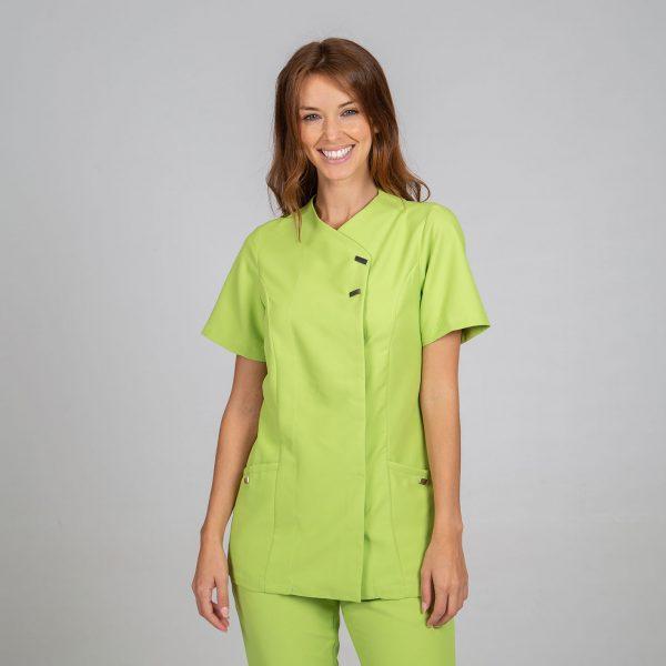 Chaqueta microfibra manga corta mujer botones plata color verde frontal