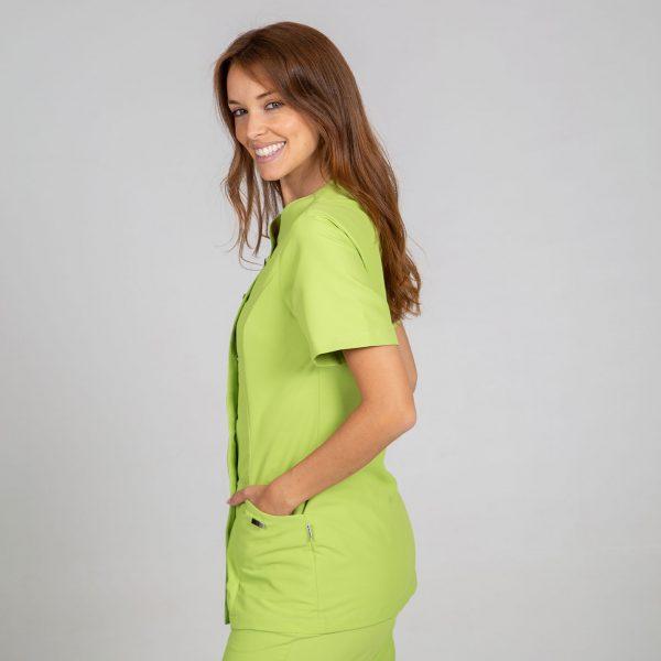 Chaqueta microfibra manga corta mujer botones plata color verde lateral