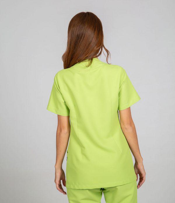 Chaqueta microfibra manga corta mujer botones plata color verde espalda