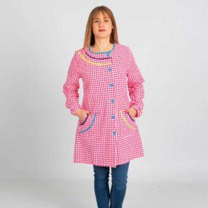 Batas de profesoras arcoíris rosa fucsia 5966-264 frontal